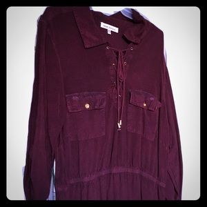 Distressed burgundy/rust colored shirt style dress